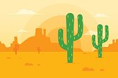 Desert landscape with cactus and mountains in the background. Flat design style.