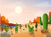 Vector illustration of Desert landscape with cactus on the sunset background