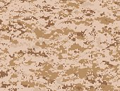 Vector illustration of brown pixels camouflage military texture used in the desert