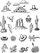A set of hand-drawn doodles of objects associated with the southwestern United States.