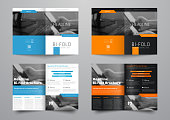 Design a bi-fold brochure with a place for photos in a minimalistic style. The template of the vector booklet is black and white for business, advertising and printing.