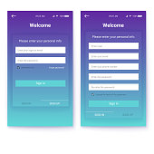 UI design, account authorization or register, interface for touchscreen mobile apps. Entrance via login, password. Registration with personal data. UX Screen with digital lock on login page