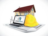 Design and build - house construction concept - architect computer tools