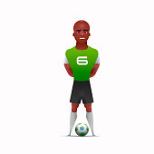 One african soccer player man playing isolated on white background. Vector illustration