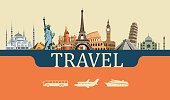 Colorful background of the most famous places on the planet