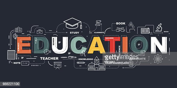 Design Concept Of Word EDUCATION Website Banner. : Vector Art
