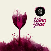 Design concept wine and food. Background wine stains. vector