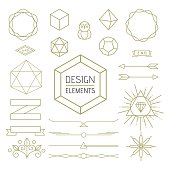 Design elements set mono line outline style. Includes geometry badges, lettering symbols, signs and icons. EPS10 vector..