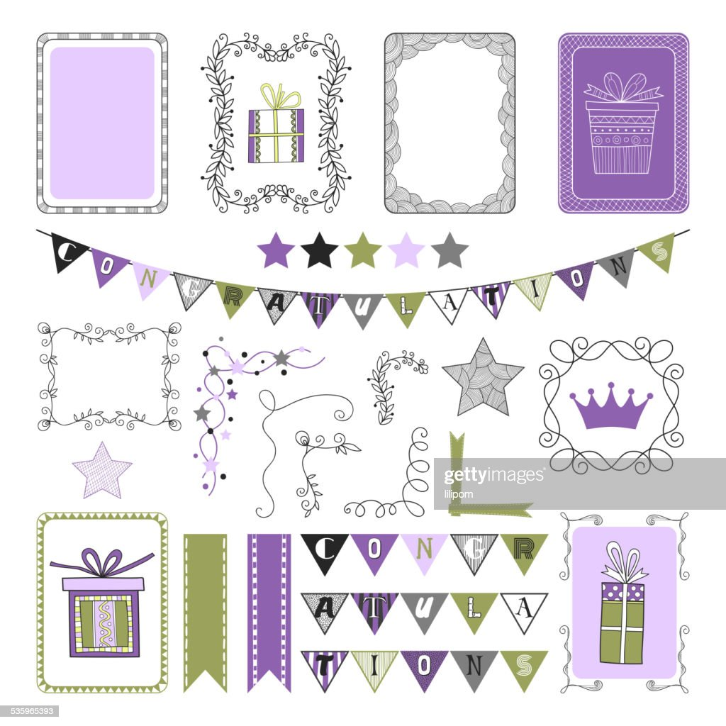 Design Elements for holiday, party, congratulations, frames, elements : Vector Art