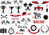 Design elements or set of isolated icons for motosport and racing. Checkered flags and winner cup or bowl,  formula one cars or F1 and wrench or spanner, , laurus leaves and motorbike,wheel and speedo