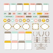 Design elements for website. Template for notebooks. Monthly planner. Set for blog design. Notes, stickers, labels. Vector illustration