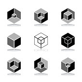 Design elements set. Abstract hexagons. Cubic shape icons. Vector art.