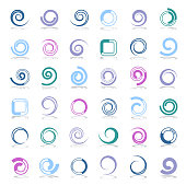 Design elements set. Spiral, circle and square shapes. Abstract icons.