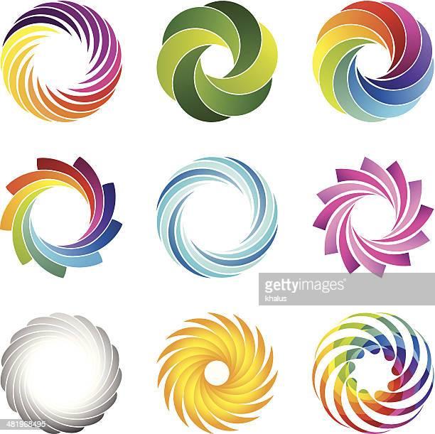 Los elementos de diseño (círculos n. ° 1