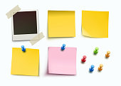 Vector illustration of design elements for bulletin board. Yellow and pink stick note, message papers, empty photo frame and push pins in different colors.