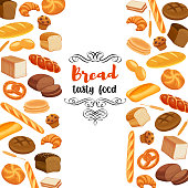 Template page design food with bread products. Rye bread and pretzel, muffin, pita, ciabatta and croissant, wheat and whole grain bread, bagel, toast bread, french baguette for menu bakery.