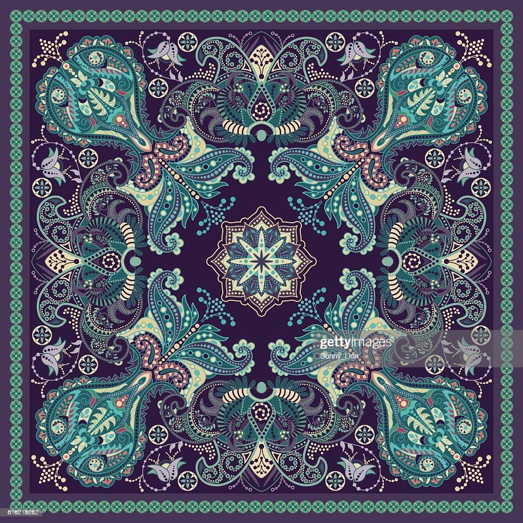 Design für square Tasche, Schal, Textilien. Paisley-Muster : Vektorgrafik