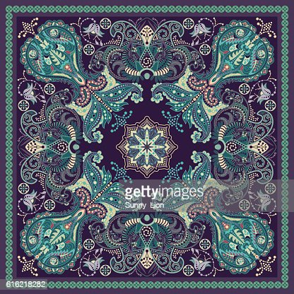 Design for square pocket, shawl, textile. Paisley floral pattern : Vector Art