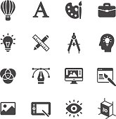 Art, drawing and web and graphic design icons