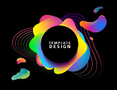 Design of a banner with abstract elements. Round modern banner on a background of blurred splashes with a gradient. Backdrop with colored waves. template for the cover, flyer or advertisement. Vector.