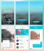 Design of mobile applications. Set with a welcome window, registration, home page, news search, chat and settings