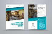 design of the universal vector brochure with the diagonal blue and the place for the photo. A template of two sides of a white business flyer for printing and advertising.