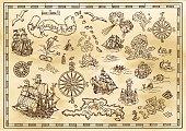 Pirate adventures, treasure hunt and old transportation concept. Hand drawn vector illustration, vintage background