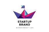 Emblem for startup project with inscription Startup Brand - Business project. Brand template of colorful paper boat. Business concept and identity symbol. Startup graphic design concept. Vector Illust
