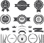 Design template of premium badges or symbols. Vectot icon and label, sign and badge, quality premium and guarantee illustration