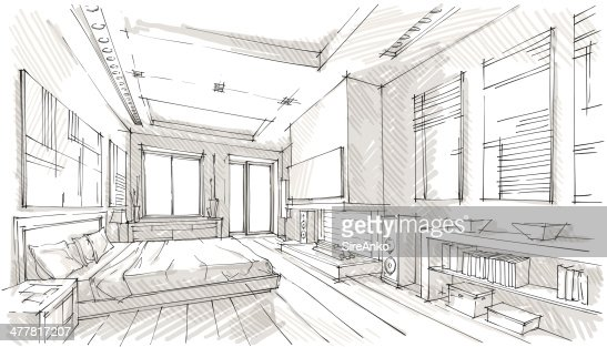vector illustration of interior design in the style of drawing ai