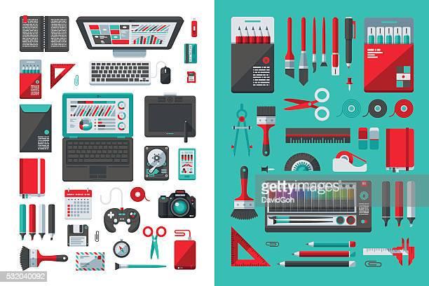 Designer's Desk Flat Design Set
