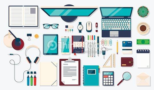 Schreibtischhintergrund Mit Den Digitalen Geräte Und Büromaterialien