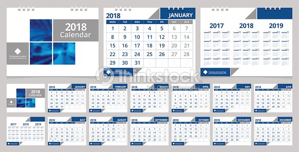 Calendar Cover 2018 : Desk calendar design template months front cover