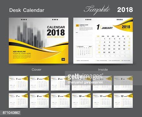 Desk Calendar 2018 Template Design Yellow Cover Set Of 12 Months