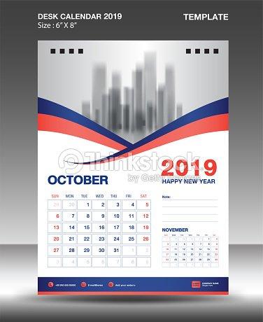 october desk calendar 2019 template flyer design vector blue orange