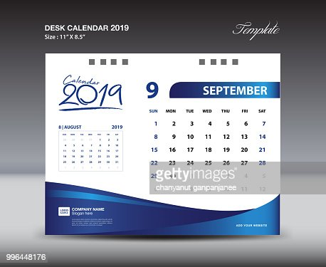 September Desk Calendar 2019 Template Week Starts Sunday
