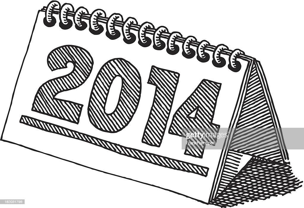 Desktop calendar 2014 drawing vector art getty images for Clipart calendario