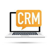 Desktop CRM System Icon. Business and Finance. Vector stock illustration.