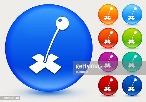 Destination Mark Icon on Shiny Color Circle Buttons : Vector Art