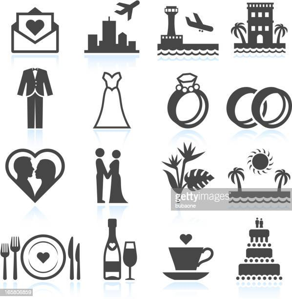 Destination Wedding Ceremony black & white vector icon set