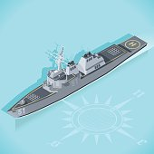 Militar Ship 3d Flat Isometric Guided Missile Destroyer Warship Arleigh Burke Marine Militar Wargame Set