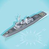 Militar Ship 3d Flat Isometric Guided Missile Destroyer Warship Arleigh Burke Marine Militar Wargame Set