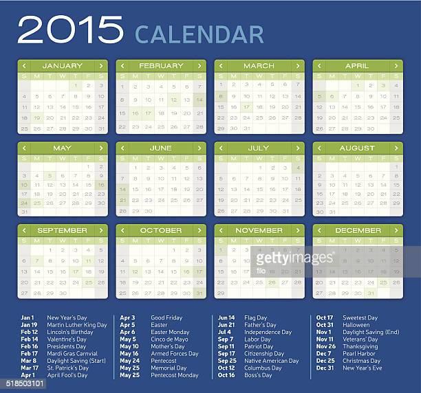 Detailed 2015 Calendar