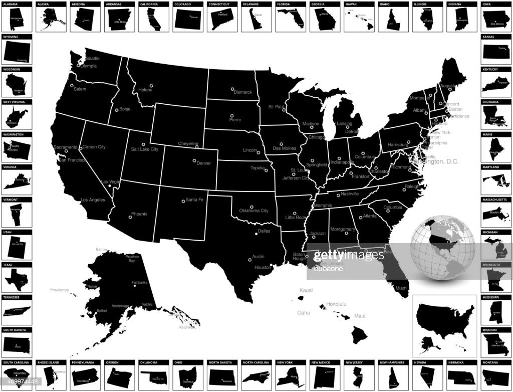Vector Map Of United States Of America With States Single Color - Editable us state map