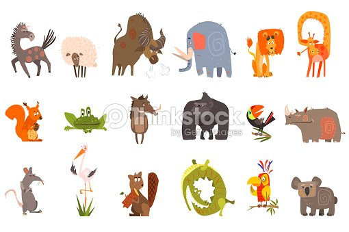 Detailed flat vector set of funny animals. Horse, sheep, bison, elephant, lion, giraffe, squirrel, frog, wild boar, gorilla, toucan, rhinoceros, rat, stork, beaver, crocodile, parrot, koala