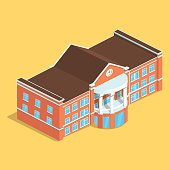 Detailed illustration of a Isometric European isolated Building. Illustration of isometric House , Detailed Vector Clip Art with Easy Editable Colors.