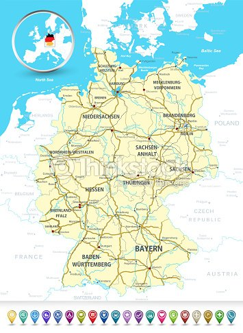 Detailed Map Of Germany.Detailed Map Of Germany With A 3d Bubble Gps Markers Stock Vector