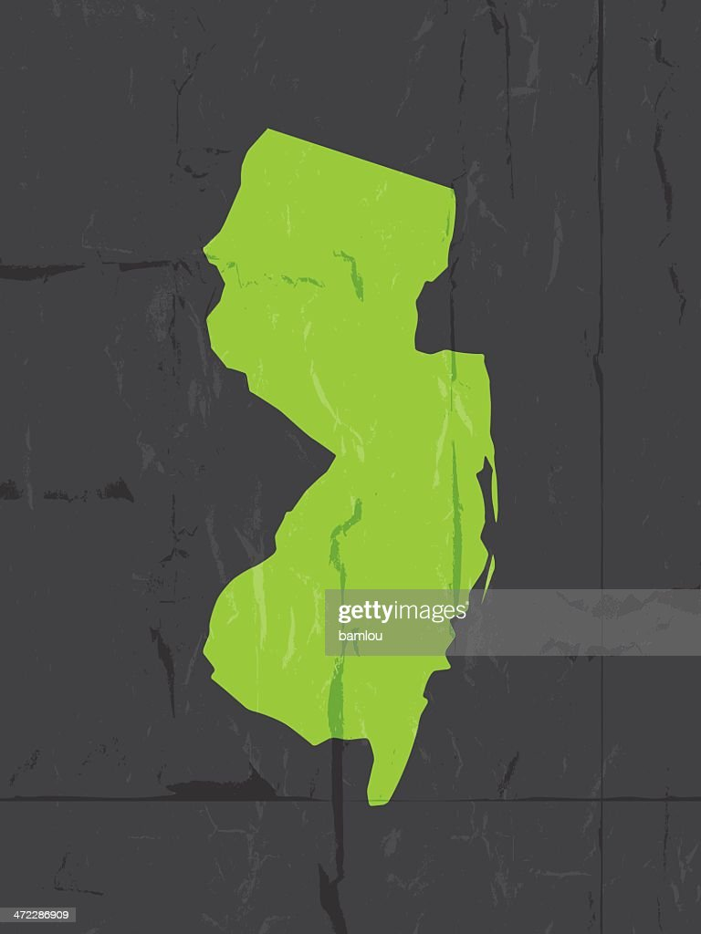 Detailed Map Of New Jersey State Grunge Style Vector Art Getty - Detailed map of new jersey