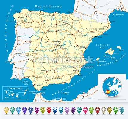 Map Of Spain Oceans.Detailed Map Of Spain With Bubble Icons Vector Art Thinkstock