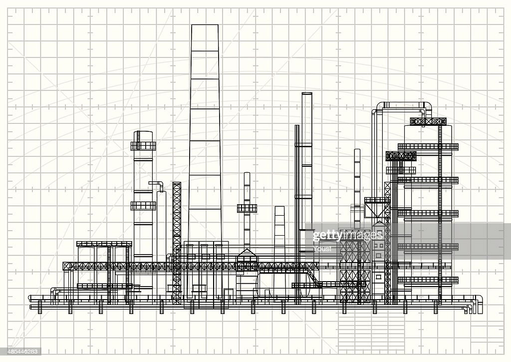 Detailed oil refinery blueprint vector art getty images for Reading blueprints 101